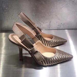 nuovi di zecca vera pelle signore di disegno alti talloni dei pattini di vestito da partito di modo ragazza ha indicato sandali tacco alto pantofole strass 10 centimetri