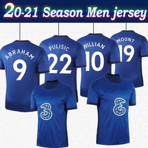 2021 # 22 Pulisic Home Blue Soccer Technys 20/21 с коротким рукавом № 9 Авраам # 19 Гостиница Футбольные рубашки Индивидуальные Футбольные формы