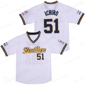 51 Ichiro Suzuki Japão Jersey Men Blue Wave 2019 transporte New Baseball Jerseys Cor Branco Bordado gratuito