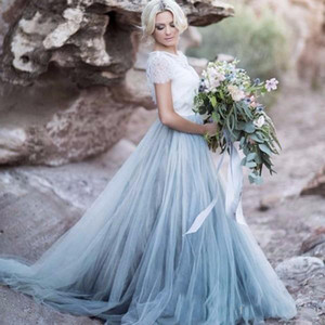 Abiti da sposa stile country Vintage Colorful blu pallido A Line Hollow Back Abiti da sposa con maniche corte Tulle Beach Abiti da sposa