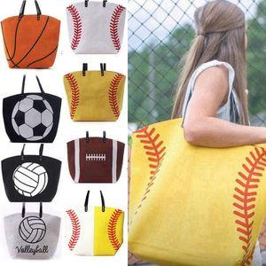 Base-ball Sac fourre-tout en toile Softball Baseball Volleyball de football imprimé Fourre-tout Sac à bandoulière femmes Sacs de sport HHA-1399