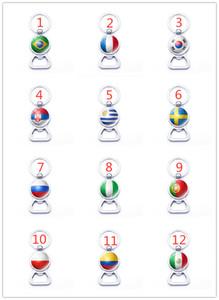 Abridor de garrafa de futebol bandeira nacional chaveiros Tempo Gem Cabochon 32 bandeiras nacionais padrão chaveiro chaveiro Criativo
