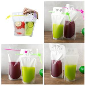 em forma de coração quente saco Juice Drink Bag 500ml de bebidas sacos líquido suco Leite Embalagem Bag Limpar Seal e redondo T2I5996 estilo buraco