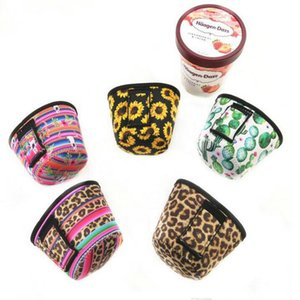 Neoprene Ice Cream Cover Case Leopard, Sunflower,Cactus Print Can Cooler Covers Ice Cream Holder Pouch Tools