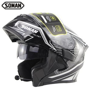 Motorcycle double lens uncovering helmet high sound Bluetooth headset male and female safety helmet Bluetooth