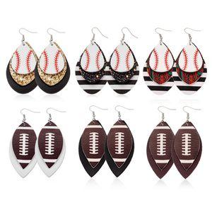 Fußball Sport PU-Leder-Ohrringe Rugby Pailletten-Blatt-amerikanische Flagge Ohrringe Frauen-Dame-Mode-Accessoires Schmuck 7styles RRA2092