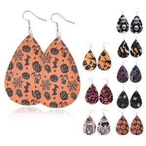 Leder Halloween Ohrringe für Frauen Leichte Kunstleder Double Sided Blatt-Ohrringe Teardrop baumeln handgemachte für Frauen-Mädchen-Geschenk-Idee