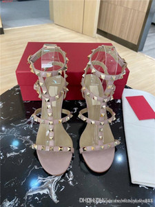 Summer fashion high heel sandals Rivet tri-loop strap for women with round head and exposed high heel sandals With box size 34-40