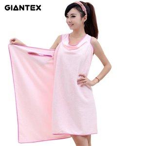 Giantex Mikrofiber Kadınlar Seksi Banyo Havlusu Giyilebilir Plaj Havlusu Yumuşak Plaj Wrap Etek Süper Emici Banyo Elbisesi U0826 C19041201