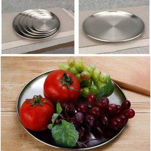 Stainless Steel Dinner Dish Flat Plates Kitchen Tableware Dinnerware Restaurant Severing Tray Kitchen Tools HH9-2246