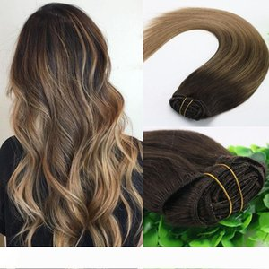A 8A 7pcs 120gram 14inch 18inch 20inch 24inch Clip In Human Hair Extensions Ombre Dark Brown To Light Brown Balayage Highlights Hairsty