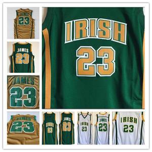Stitched St. Vincent Mary High School Lebron 23 James Camisa de basquete de jerseys Green White College James costurado jérseis costurados bordados
