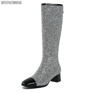 Euro Style Nouvelle Arrivée Femmes bling genou haut Bottes 4.5 cm à talons hauts Printemps Automne partie mariage Chaussures Femme taille 34-43