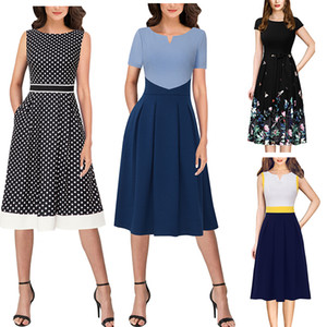 Vfemage Donne Notch scollo a V Colorblock Patchwork tasche Pieghe Office Work Business Casual partito Flare A-Line Skater Dress 1031