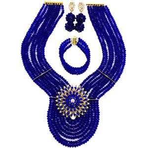 Fashion Royal Blue African Beads Jewelry Set Crystal Nigerian Beaded Wedding Necklace Bracelet Earrings Sets 8WD04