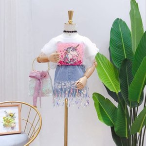 Fashion Girls summer outfits kids sequins unicorn gauze falbala fly sleeve T-shirt+coloful tassel denim skirt 2pcs children sets A3021