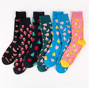 Colorful fashion socks Combed cotton jacquard socks Happy fruits socks with banana pear strawberry watermelon