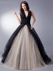 Black Nude Colorful Tulle Gothic Wedding Dresses With Color Non White Halter Bridal Gowns Non Traditional Robe De Mariee Real Photo TF02