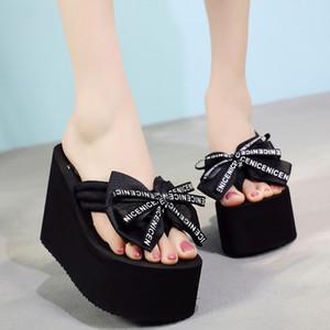 11cm Summer Butterfly-knot Wedges Women Flip Flops Platform High Heels Outside Beach Shoes Slippers