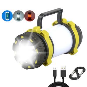 Кэмп лампы LED Camping Light USB аккумуляторная фонарик Диммируемый Spotlight работы Водонепроницаемый Свет Прожектор Emergency факела NEW