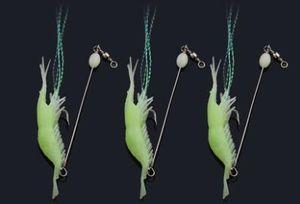 #4444 Luya soft luminous shrimp bionic fake bait 3pcs set luminous bait fishing squid blackfish bait