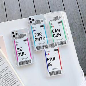 Creativo biglietto aereo per l'iPhone 11 pro x max xr trasparente Soft Cover Paese Londra Parigi Tokyo New York Houston Chicago anticaduta