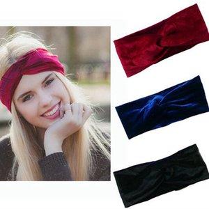 Women Velet Turban Head Wrap Hairband 26color Winter Ear Warmer Headband Solid Color Cross Hair Band Hair Accessory 22*9cm