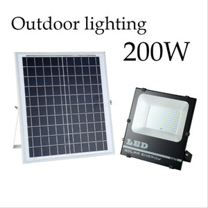 Luzes solares Refletor LED de 30W 50W 100W 200W Controle Remoto Projector Tuinverlichting Street Lamp Waterproof IP67