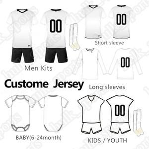 Costume sur mesure football kit bébé Maillots hommes enfant enfants manches longues football manches courtes adultes