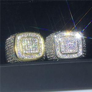 Anello Vecalon mano maschile 925 impostazione Sterling Silver pavimenta 275pcs anelli a fascia 5A Cz festa di nozze per gli uomini della roccia Hiphop gioielli