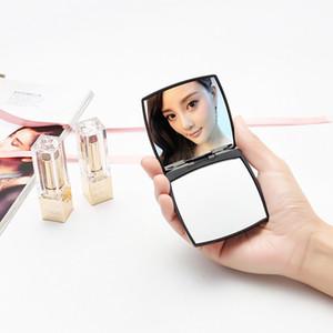 Taşınabilir Makyaj Aynası Siyah Mini Katlanır Kompakt Aynalar Cep El 6.5 * 6.5 cm Kozmetik Aracı Ücretsiz Kargo