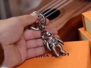 kutu ile Anahtarlık Araç çantası Anahtarlık Paslanmaz Çelik Anahtar zinciri astronot üst seviye Moda Lüks