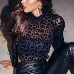 feminino Body Suit Mulheres Leopard Bodysuit Sexy Bodycon manga comprida Moda Verão roupas femininas