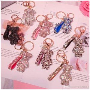 Key Ring PVC Keychain DIY Craft Cartoon Bear Handmade Rhinestone Crystal Key Chains Charm Pendant Keychains For Women Gifts