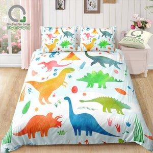BOMCOM Digital Printing Bedding Set Dinosaur Pattern Water Color Children Bedroom Duvet Cover 100% Microfiber