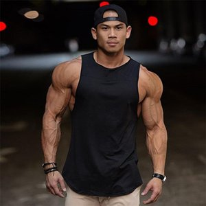 Débardeurs nouveaux sports de fitness de musculation hommes de blanc hommes gilet sans manches simple T-shirt couleur unie coutures taille lâche grand gros