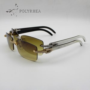 Gafas de sol Buffalo Horn de lujo para hombres / mujeres Gafas de sol sin montura de diamantes grandes decorativas marrones Diseñador de marca Blanco Interior Negro Horn Horn