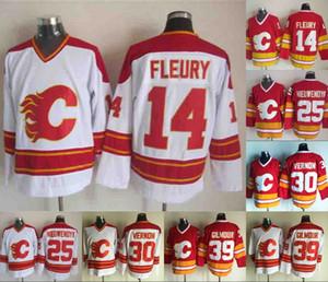 Erkek 14 Theoren Fleury Forması Calgary Flames 25 Joe Nieuwendyk 30 Mike Vernon 39 Doug Gilmour Kırmızı Beyaz Hokey Jereseys
