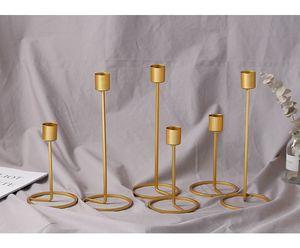 Gold Candle Holder Single Head Iron 3D Geometric Candlestick Romantic Table Decor Creative Home Wedding Decoration