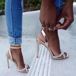 L'oro Bling donne sexy Sandals Open Toe strass cinghie incrociate tacco alto sandali abito da sposa calza il formato 35-42