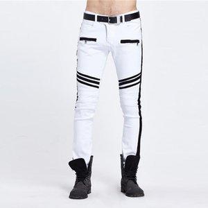 Designer Jeans Fashion Skinny Mulit Zipper Pockets rivestite Mens jeans casuali Maschi Abbigliamento Stripe con pannelli Mens