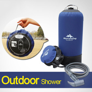 Outdoor 11L PVC Pressure Shower Portable Inflatable Camping Shower with Foot Pump Lightweight Water Bag For Outdoors Camping