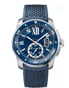 Vente chaude Bouton mode Montre Blue Stone Calendrier de la série Cadran Blanc Boucle automatique montre-bracelet mécanique Homme 10 Wristwatch