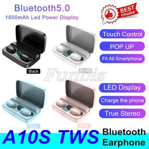 A10S TWS écouteurs Bluetooth casque Avec charge Affichage 1800mA USB Banque d'alimentation stéréo sans fil Oreillettes Sport Casque