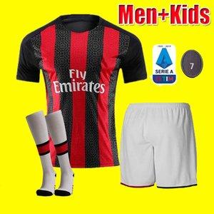 Men kids kit 20 21 IBRAHIMOVIC AC soccer jerseys 2020 2021 PIATEK 120th football shirt PAQUETA BENNACER uniforms Milan maillot de foot