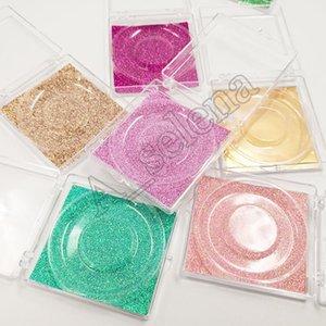 Pestañas transparentes cajas de plástico 3D Mink Pestañas Falso Caja Cajas pestañas de la pestaña cuadrados cajas de embalaje de la caja cosmética de maquillaje