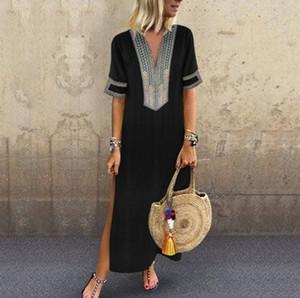 Été femmes Soild Robes chemise manches col en V Vêtements décontractés Pure Color Sexy Fashion Apparel longueur de plancher