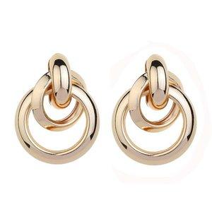 Klassischer Entwurf Double Circle Geometric Hoop Ohrringe baumeln für Frauen-Art- und Silber Gold Schwarz Hiphop Ohrring Einfache Schmuck Geschenk-Großverkauf