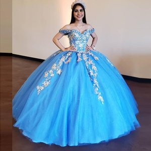Glitter Stylish Beaded Ball Gown Quinceanera Dresses Off The Shoulder Neck Sequined Prom Gowns 3D Floral Appliqued Sweet 16 Party Dresses