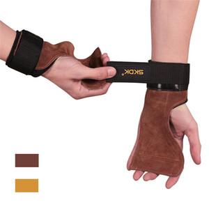 Kuhfell Gymnastik-Handschuhe mit Handgelenkstütze Workout Crossfit Fitness-Handschuhe Palm Schutz Griffe Anti-Skid Gewichtheber-Kreuzheben